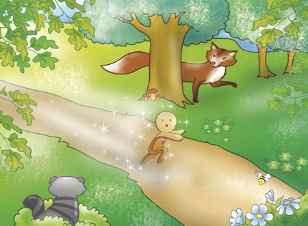 fables: Gingerbread boy running and the fox