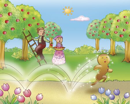 gingerbread: Gingerbread boy happily running in the country