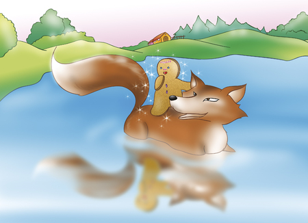 fables: Gingerbread boy and the fox in the river
