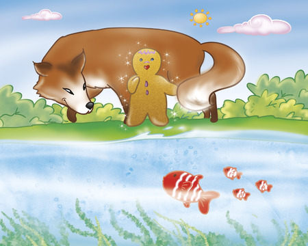 Gingerbread boy and fox near the river