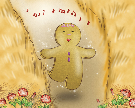 Gingerbread boy singing in a wheat field Stock Photo