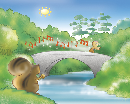 folktale: The gingerbread boy singing and running on a bridge.