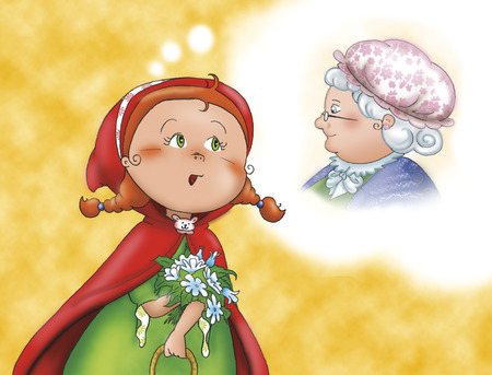 caperucita roja: Caperucita Roja preocupada por su abuela
