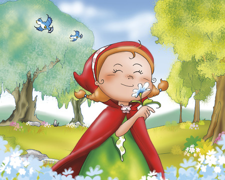 little red riding hood: Happy red riding hood smelling flowers