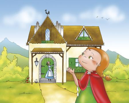 caperucita roja: Caperucita Roja está diciendo adiós a su madre antes de ir a la madera.
