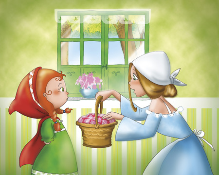 cartoon little red riding hood: Little Red Riding Hood and her mom Stock Photo