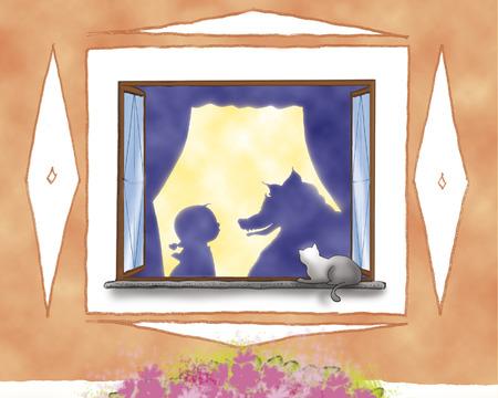 caperucita roja: Caperucita Roja y el lobo siluetas en la ventana Foto de archivo