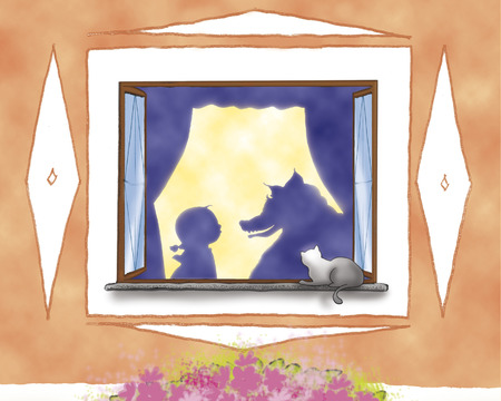 cartoon little red riding hood: Little Red Riding Hood and wolf silhouettes at the window Stock Photo