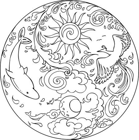 sol y luna: Colorear Tao Sri Amma Bhagavan Diksha mandala Vectores
