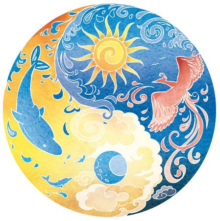 night bird: Tao Sri Amma Bhagavan Diksha mandala. Night and day. Stock Photo