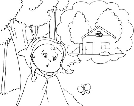folktale: Colorear Caperucita Roja en el vector de madera