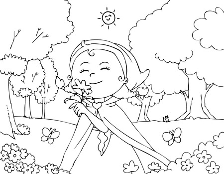 Coloring Red Riding Hood with flowers Illustration