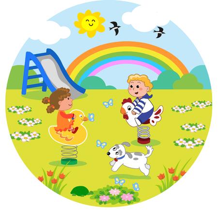cheerful cartoon: Kids at the playground in round size
