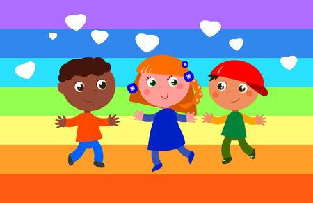 niños de diferentes razas: Arco iris de colores de la bandera de la paz con los niños felices. Vectores