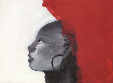 Freedom artwork: Profile of an african woman 스톡 콘텐츠