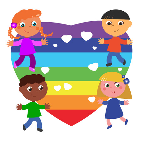 brother brotherhood: Peace flag in heart shape with 4 children from different countries. Illustration