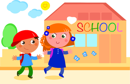 schoolmate: Boy and girl happily going to school. Digital illustration.