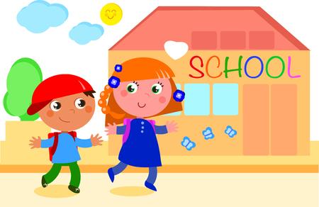 Dos Niños Felizmente Yendo A La Escuela Vector Para Colorear