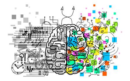 półkule mózgu. Prawo to emocje, intuicja, kreatywność. Lewy jest logika, rozum, werbalne. Ilustracje wektorowe