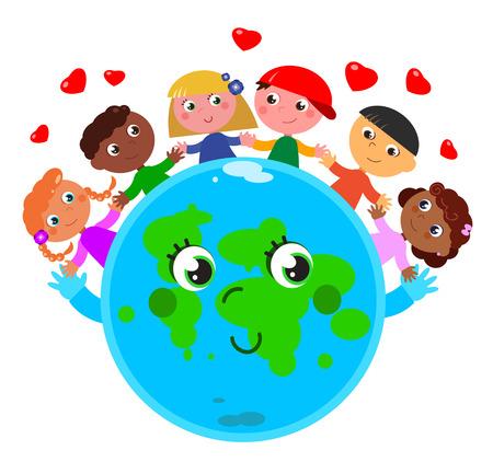 Happy cute pianeta terra con i bambini in pace e amore Vettoriali