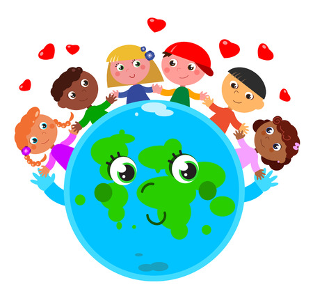 planet earth: Happy cute planet earth with children in peace and love Illustration