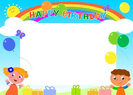 marco cumpleaños: Marco del feliz cumpleaños con los niños del arco iris y globos Vectores