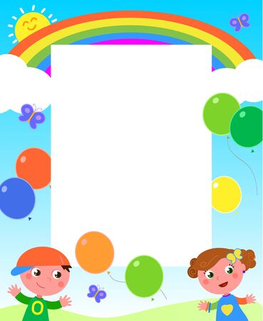 brother and sister: Rainbow kids and balloons frame Illustration