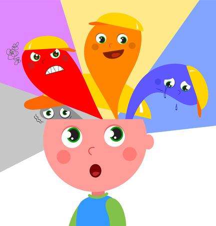 psicologia infantil: Boy sentir diferentes tipos de emociones. El miedo, la ira, la felicidad y la tristeza.