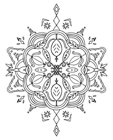 spiritual energy: Coloring mandala with leaves and abstract shapes.
