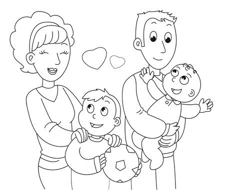 Moeder, vader, zoon en baby. Kleurplaat illustratie.