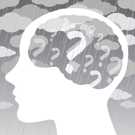 El perfil de una cabeza humana con signos de interrogación, las nubes grises y una tormenta en el cielo oscuro. Concepto sobre la tristeza y la enfermedad de la depresión. Ilustración de vector