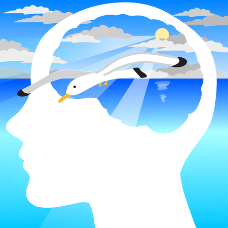 peaceful: Human profile with visible brain. Concept with seagull and peaceful sea landscape.