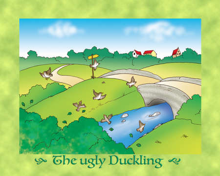 duckling: The ugly duckling 8 scared birds flying in countryside