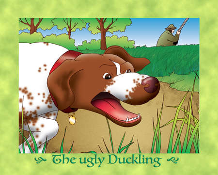 scaring: The ugly duckling 10 the hunting dog Stock Photo
