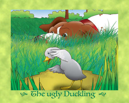 scaring: The ugly duckling 11 scared duckling with hunting dog Stock Photo