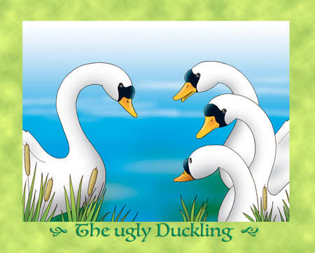 fable: The ugly duckling 23: the grown duckling meets beautiful swans Stock Photo