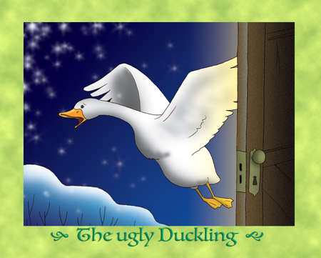 scaring: The ugly duckling 19 escaping in snowy winter Stock Photo