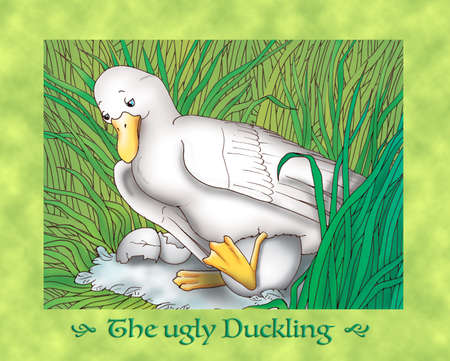 the ugly: The ugly duckling, the nest and mother duck