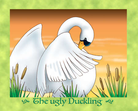 the ugly: The ugly duckling a new shy swan Stock Photo