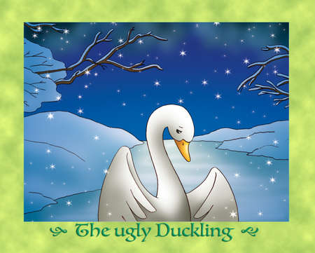 duckling: The ugly duckling  sadness in snowy winter Stock Photo