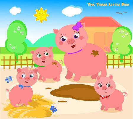 Érase una vez que había un cerdo de la madre con tres cerditos. Ilustración de vector