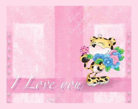 valentine card: Cute cartoon leopard with flowers on pink. Valentine card.