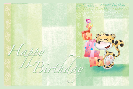 green cute: Cute leopard with a lot of gifts on green. Happy Birthday card.