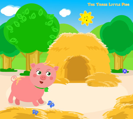 three animals: The first of the three little pigs builds a straw house.