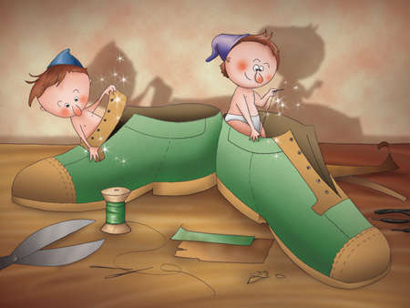 folktale: The elves and the shoemaker: elves working at new shoes