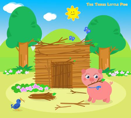 Los tres pequeños cerdos, lechones segundo construye una casa de palos Ilustración de vector