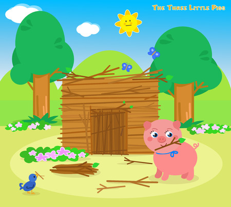 three animals: The three little pigs, second piglet builds a sticks house