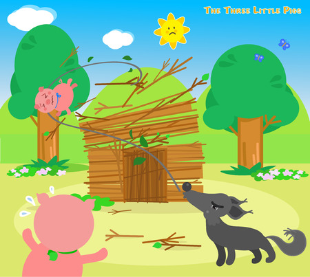The three little pigs, wolf destroys the sticks house Illustration