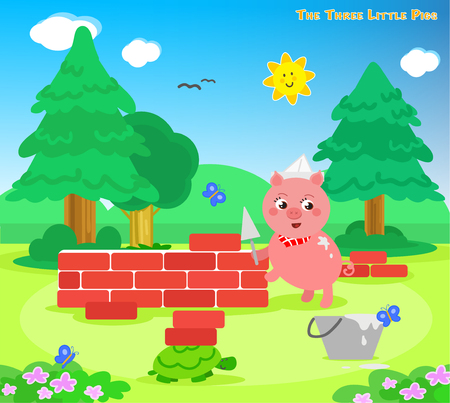 The three little pigs: the third piglet builds a bricks house Illustration