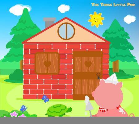 I tre porcellini: il terzo porcellino finito la casa di mattoni Vettoriali